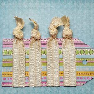 Set of 4 Cream Ivory Ecru Spring Elastic Hair Ties